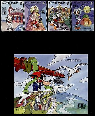 Gambia 1217-21 MNH Disney, Architecture, Mickey Mouse, Birds