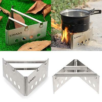 Stainless Steel Wood Stove Outdoor Cooking Picnic Camping Folding Burner V7D9