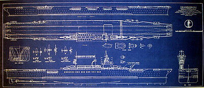 USN Aircraft Carrier USS Lexington CV-2 1942 Blueprint Plan 13x30  (269)