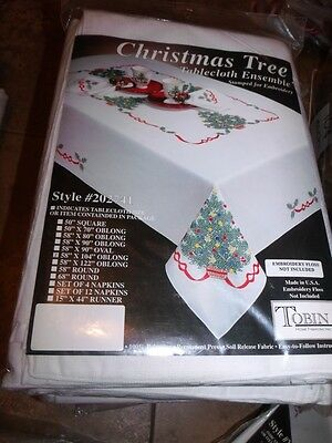 """Tobin Stamped Cross Stitch Embroidery Tablecloth CHRISTMAS TREE 58"""" x 104"""""""