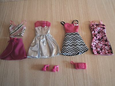 Barbie 4 Outfits, Shoes and a Clutch Bag