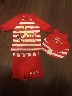 Disney.Baby Girls Minnie Mouse 3 Piece Swim Set 12-18 Months.sun Hat.Shorts.top.