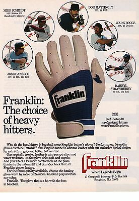 "1988 Franklin Batting Gloves ""The Choice Of Heavy Hitters"" Print Advertisement"