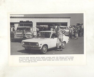 1971 Datsun 1200 Sedan Riverside David Hobbs ORIGINAL Factory Photograph ww5940