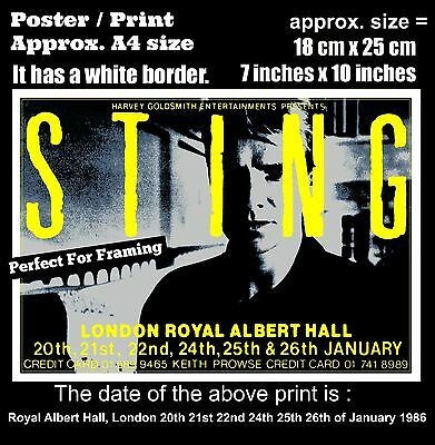 Sting The Police live Royal Albert Hall London January 1986 A4 size poster print