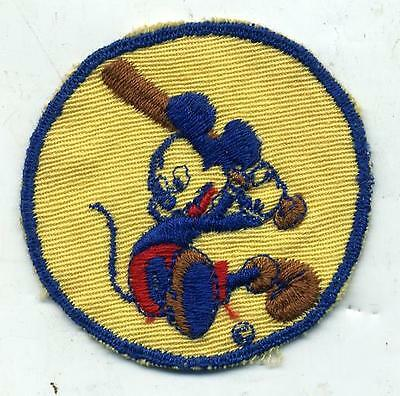 WWII Mickey Mouse Playing Baseball Disney Patch In Tan