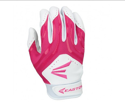 Easton HF3 Hyperskin Fastpitch YOUTH Batting Gloves NEW White/Pink Size Large