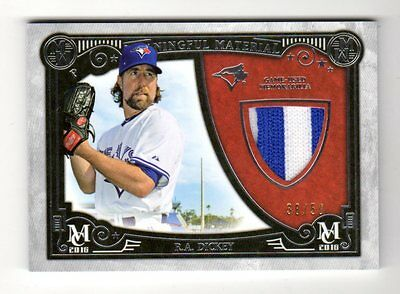 R.a.dickey Mlb  2016 Topps Museum  Meaningful Material Prime Relic (Blue Jays)