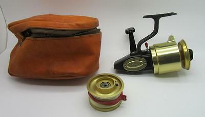 Gy91) Vintage Fin-Nor No.3 Spinning Fishing Reel W Correct Leather Case & Spool