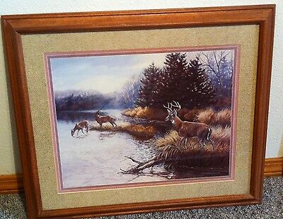 Homco Home Interiors Picture Julie Crocker Artist 1988 Deer Buck Doe Water VGC