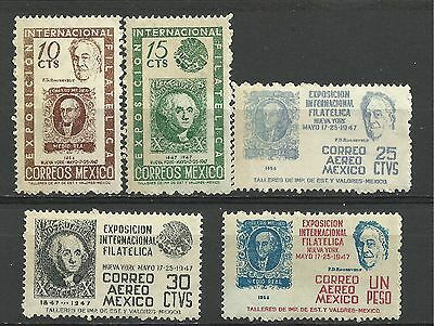 Mexico Stamps: 1947 Intn'l Philatelic Exhibition NYC.., SC 826-7, C167-9(5) MNH