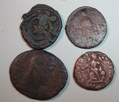 Group of 4 Copper Unidentified / Need Research  Ancient Roman Coins  , Lot #1