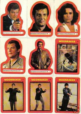 James Bond Moonraker Complete Set Of 22 Stickers