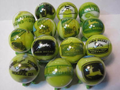 John Deere Tractors Marbles 5/8 Size Lot Collection + Stands