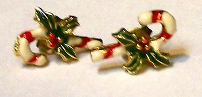 Tiny Vintage ENAMEL CANDY CANE EARRINGS-CHRISTMAS JEWELRY-Estate