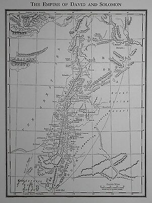 Vintage 1937 Atlas Map The Empire of David & Solomon /Palestine Among The Tribes