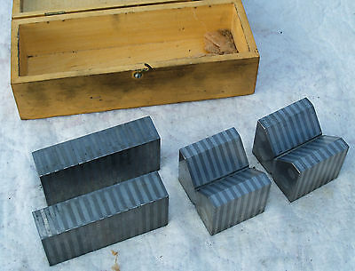 """T1-FISHER No 14 Precision Grinding Magnetic 2"""" V Block Matched Set Parallels USA"""