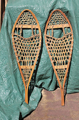 "Vintage Wood & Leather Snowshoes 11 X 36"" As New 6478"