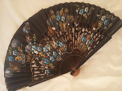 Vintage Handpainted Fabric and Wood Fan. Floral. Black, Gold, Blue, Red, Yellow