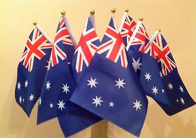 10 Australia Flags Hand Waving Australian Aussie Fabric With Plastic Handle