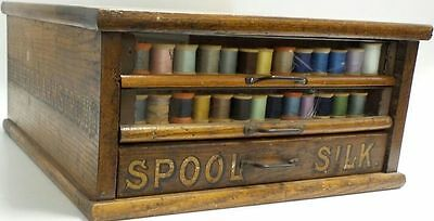 Antique 1900's Brainerd Armstrong 3 Drawer Cotton Spool Thread Wood Cabinet