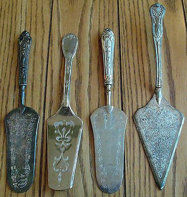 Lot of 4 Silverplate Cake Pie Servers Mixed Lot Silver Plate Serving Pieces A800
