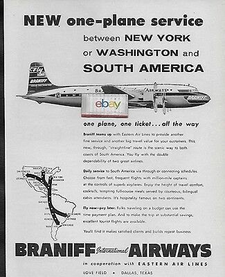Braniff International Airways 1955  Dc-6B One-Plane Service Nyc/Dca To Panama Ad