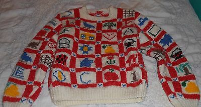 Vintage Children's Colorful WOOL Sweater Knitted Handcrafted 1980s Boys/Girls