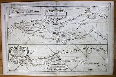 1761 Canada Quebec St Lawrence river nautical sea chart map Bellin