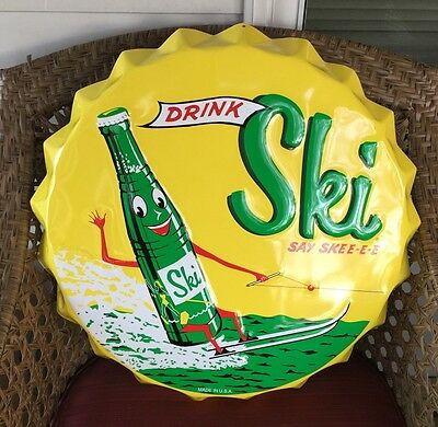 Drink Ski Say Skee-E-E Soda Pop Round Bottle Cap~~Metal Advertising Sign~~22""