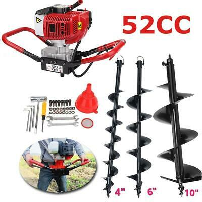 """2.3HP Gas Power Post Hole Digger & 3 Auger Bits 4"""" 6"""" 10"""" 52CC Power Engine Kit"""