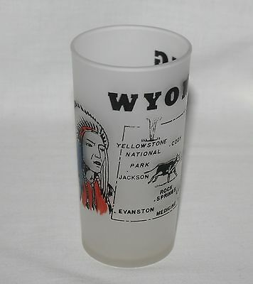 Wyoming State Frosted Tumbler Mid-Century Federal Glass 6 Ounces