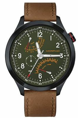 Morphic Mens M44 Series Watch,44mm,Green Dial,Black Bezel,Brown Leather: MPH4406