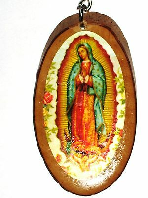 Virgin of Guadalupe, Virgen de Guadalupe Wood Keychain LLAVERO Key Ring NEW