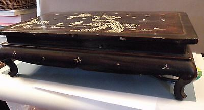shlf ASIAN LACQUER AND MOTHER OF PEARL INLAY LARGE STAND for vase, sculpture