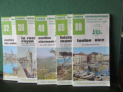 Cartes Topographiques 1/100.000 Ign Nice Beziers Royan Nantes 32 39 49 65 68