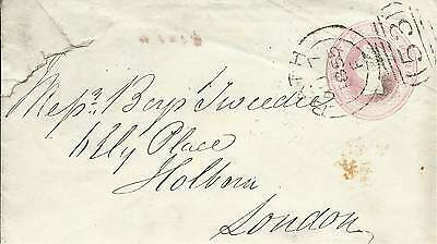 GB 1855 1d Rose P/S Cover with Bath 53 Sideways Duplex to London