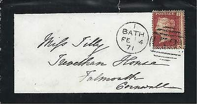 GB 1871 1d Red Pl.119? Mourning Cover with Bath 53 Duplex to Falmouth