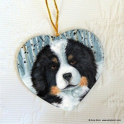 BERNESE MT. DOG CERAMIC HEART SHAPE Christ. ORNAMENT by Amy Bolin PUPPY EYES