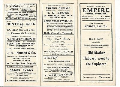 Empire Theatre Tonypandy Programme ?1940s 'Old Mother Hubbard Went To The.......