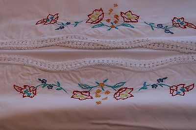 Vintage 2 Sturdy Cotton Bolster Pillowcases Hand Embroidered and Crocheted 21x60