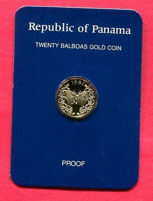 1981 Panama 20 Balboa Gold Proof - Butterfly - COA/OGP