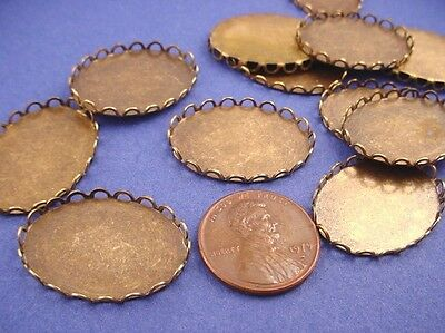 Antique Brass ox Lace Edged Oval Bezel Cups 25x18 - 8 Pieces