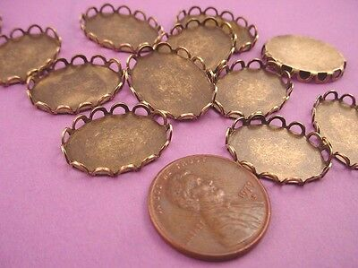 Antique Brass ox Lace Edged Oval Bezel Cups 18x13 - 12 Pieces