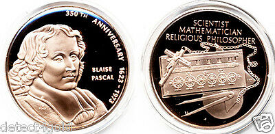 Blaise Pascal Scientist Mathematician Religious Philosopher Bronze Coin Medal