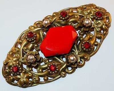 Antique Goldtone Repousse Red Glass & Rhinestones Faux Pearls Sash Brooch Pin