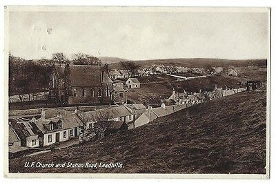 LEADHILLS UF Church and Station Road, Old RP Postcard Postally Used 1934