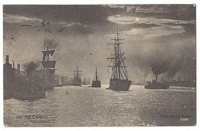 GLASGOW Ships on the Clyde, Old Postcard by Valentine, Postally Used 1904