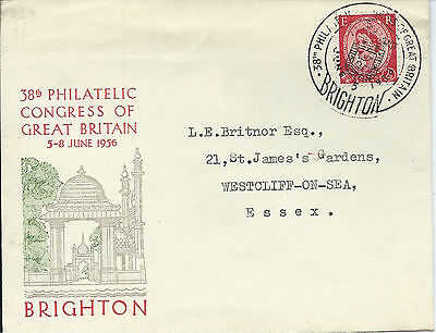 GB 1956 2.1/2d Brighton Philatelic Congress Illustrated Cover with  Special CDS