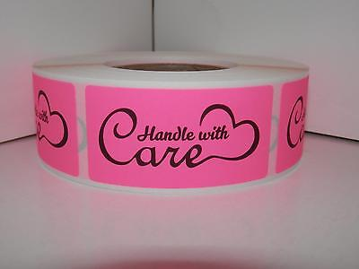 HANDLE WITH CARE 1x2 fluorescent pink background Warning Sticker Label 250/rl